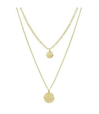 2 COINS DOUBLE NECKLACE - GOLD