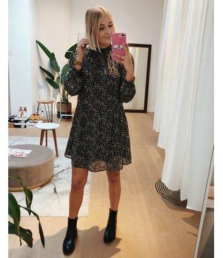 HIGH NECK FLORAL DRESS - BLACK