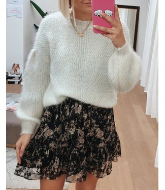 SPARKLY BALLOON SLEEVE KNIT - OFF WHITE