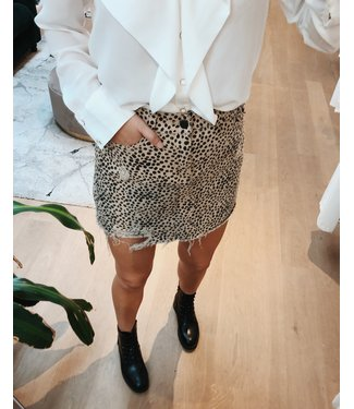 DOTTED DENIM SKIRT - TAUPE