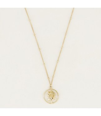 ROUND ROSE NECKLACE - GOLD
