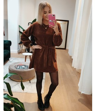 CORDUROY DRESS - BROWN
