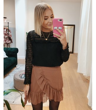 DOTTED WRAP SKIRT - BROWN