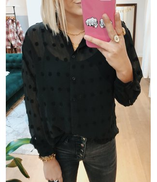 DOTTED PATTERN BLOUSE - BLACK
