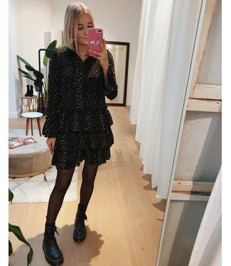 RUFFLY BLACK LEO DRESS