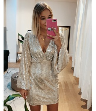 FITTED SPARKLY SEQUIN DRESS - GOLD