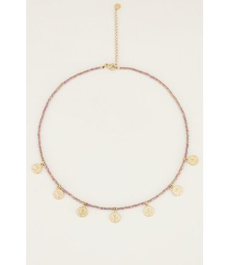 BROWN COIN NECKLACE - GOLD