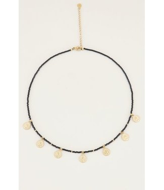 BLACK COIN NECKLACE - GOLD