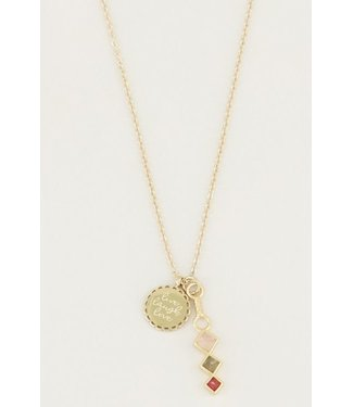 POWERST. LIVELOVE RED NECKLACE - GOLD