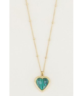 GREEN HEART NECKLACE - GOLD