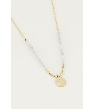 GREY BEADS NECKLACE - GOLD