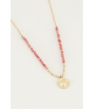 RED BEADS NECKLACE - GOLD