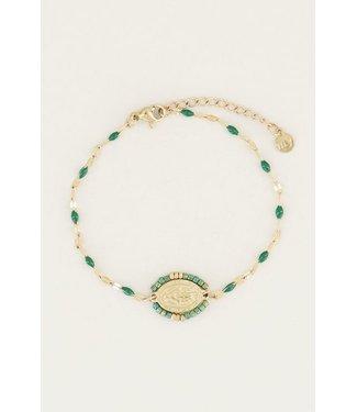 ORIENTAL COIN BRACELET - GREEN