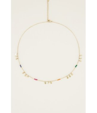 COLORFUL RAINDROP NECKLACE - GOLD