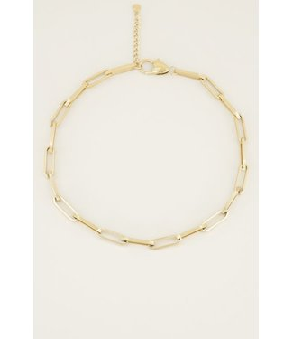 FLAT OVAL CHAIN NECKLACE - GOLD