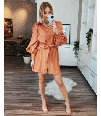 SHINY SHIRT DRESS - ORANGE