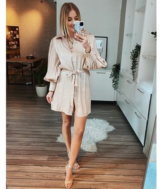 SHINY SHIRT DRESS - BEIGE