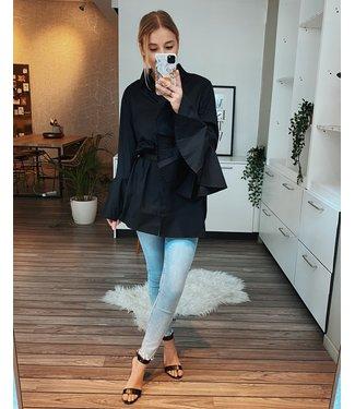 FLAIR SLEEVE SHIRT DRESS - BLACK