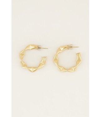BIG PATTERN EARRINGS - GOLD