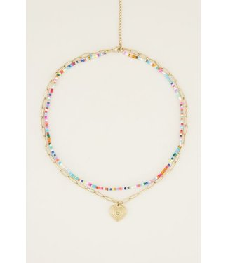 DOUBLE COLORFUL NECKLACE - HEART