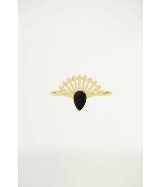 BLACK STONE RING - GOLD