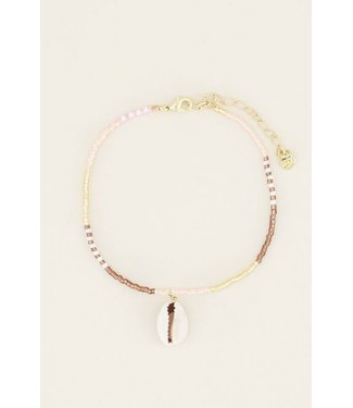 SHELL ANKLET - PINK/BROWN