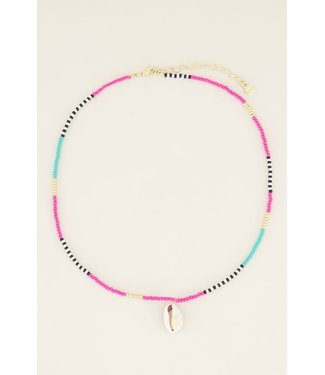 MULTICOLOR SHELL NECKLACE - WHITE