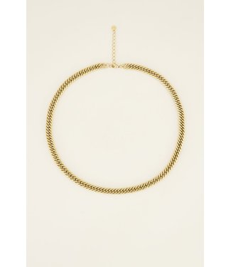LONG FLAT CHAIN NECKLACE - GOLD