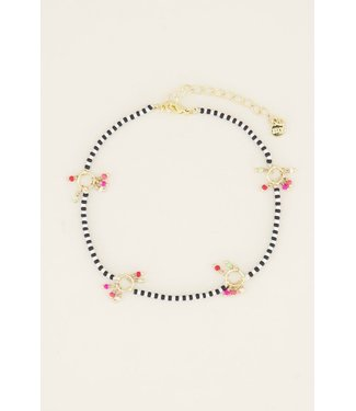 BLACK&WHITE PEARLY ANKLET - GOLD