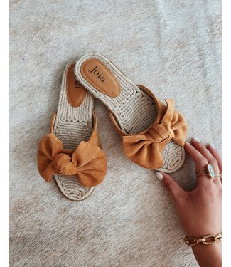 BOW SUMMER SLIPPER - CAMEL