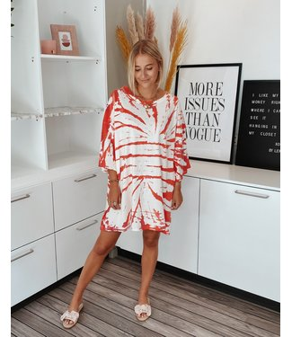 TIE DYE SHIRT DRESS - RED