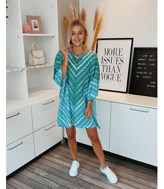 STRIPED TIE DYE DRESS - GREEN