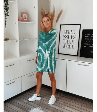 TIE DYE SHIRT DRESS - GREEN CIRCLE