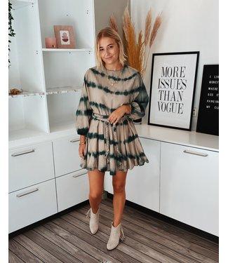 DYED FLOWY DRESS - BEIGE