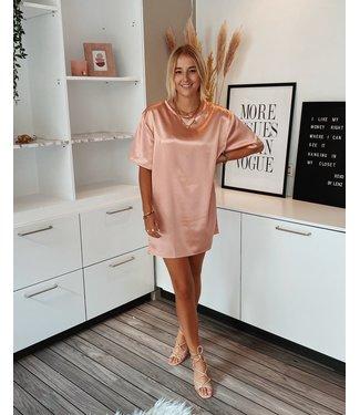 SATIN TSHIRT DRESS - ROSE