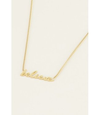 BELIEVE HANDWRITING NECKLACE - GOLD