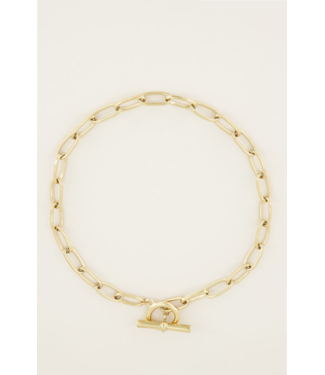 BIG CHAIN LOCK NECKLACE - GOLD