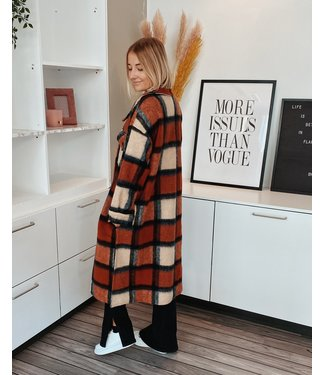 CHECKED MAXI COAT - RED