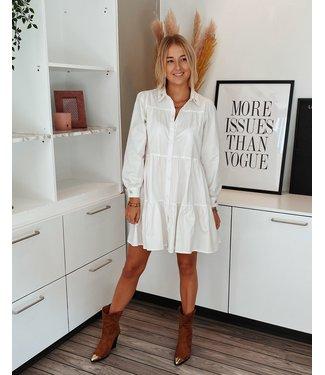 WHITE FLOWY SHIRT DRESS