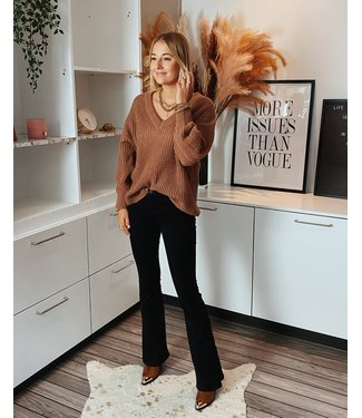 COSY V-KNIT - BROWN