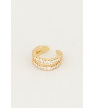 EARCUFF DOUBLE STRASS WHITE - GOLD