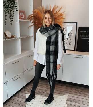 CHECKED SCARF - GREY