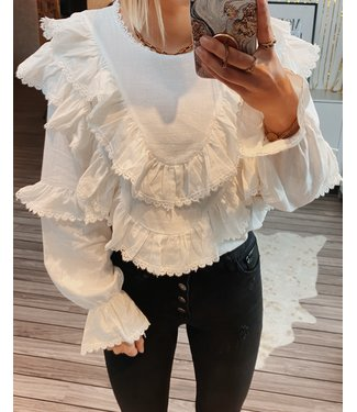 WHITE RUFFLY BLOUSE