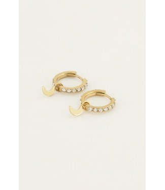 MOON WITH STRASS EARRING - GOLD
