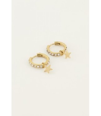 STAR WITH STRASS EARRING - GOLD