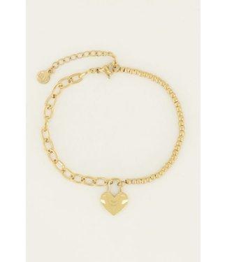 HEART LOCK BRACELET - GOLD