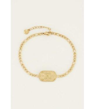 ENGRAVED PLATE BRACELET - GOLD