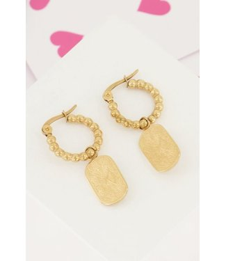ENGRAVED PLATE EARRING - GOLD