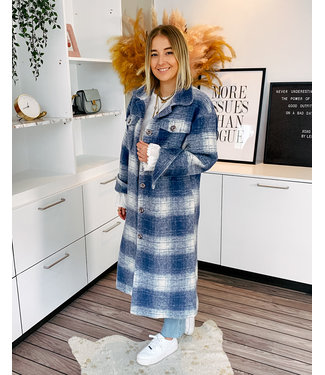 BLUE CHECKED MAXI COAT