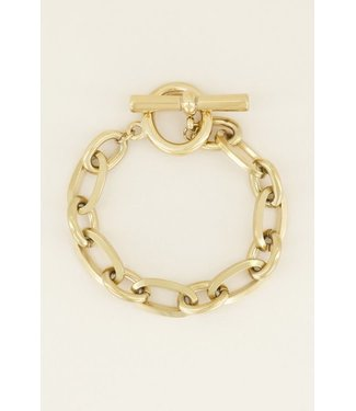 BIG CHAIN LOCK BRACELET - GOLD
